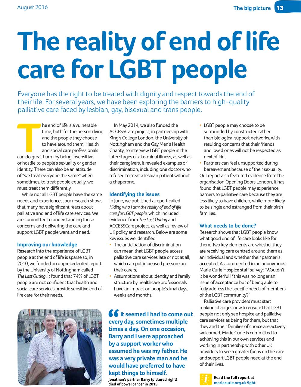 Marie Curie People LGBT article